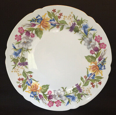 Vintage Shelley Spring Bouquet Fine Bone China 8'' Salad Plate Gold Trim 1938-66