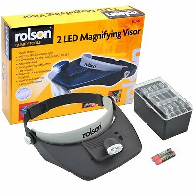 2 LED Magnifying Visor Head Loupes Magnifier Lens Jewellery Magnifiers - ROLSON
