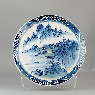 19/20 C Japanese Porcelain Meiji taisho Charger Marked Antique Japan BLue Arita