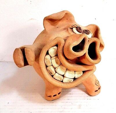 "Original Artist Hand Crafted Silly Clay Piggy Bank. Signed Piece 6"" Tall"