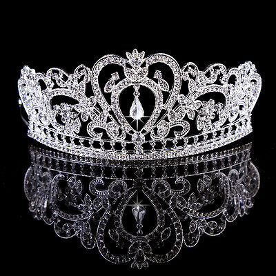 US Bridal Wedding Crystal Rhinestone Hair Headband Crown Comb Tiara Prom Pageant