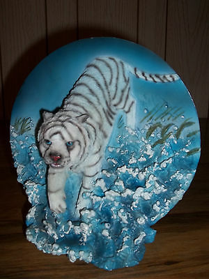 Jeco* White Tiger Plate Decorative Collectible White Tiger Plate~Great Gift