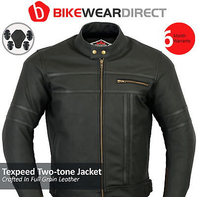 Mens New Black & Matte Leather Two Tone Racing Motorcycle / Motorbike Jacket