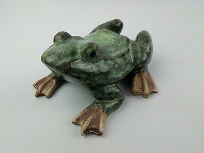 """Vintage Green/Brown Ceramic Frog Shiny Finish 5"""" - Garden and Home Decor"""