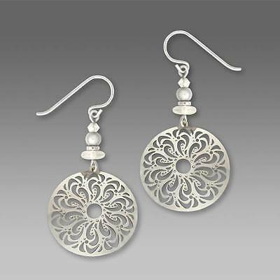 Adajio Earrings Shiny Silver Tone Large Filigree Disc with Beads Handmade in USA