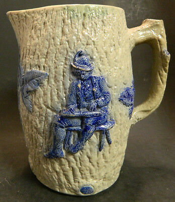"Vintage German Stoneware Pitcher w/ Embossed Blue Man Carving & Ivy 7.5"" x 4.5"""