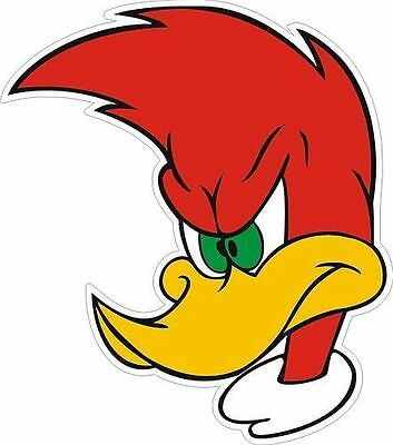 "Woody Woodpecker window, car bumper sticker, wall decor, vinyl decal, 5"" x 5"""