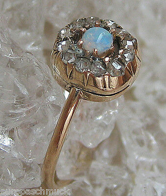 Love ஐღ Retro antiker Ring in aus Gold Diamant Ring mit Diamanten Opal Vollopal