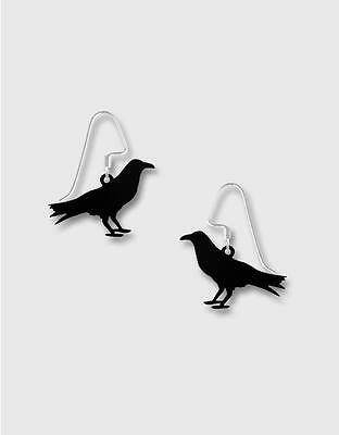 Etched Brass Hand Painted Black Bird Earrings by Lemon Tree Sterling Silver Hook