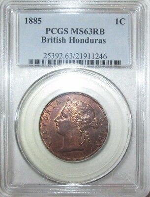 British Honduras, 1885 Victoria 1 Cent, PCGS MS - 63RB. 1ST COIN BH, SCARCE 77K.