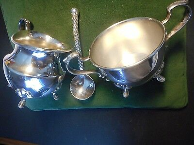 Vintage Epca, 2500,  Poole Silverplate Cream And Sugar Set With Sugar Spoon