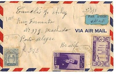 "Syria 1929 ""dahr Safr"" Reg Airmail Cvr Via Lattakia Damascus Ny & Then South To"