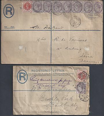 Uk Gb 1893 Inland Registered Letter Sent London Charing Cross To Seine In France