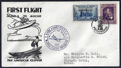 Us Philippines To Macao 1937 First Flight Manila To Macao On Pan American Clippe