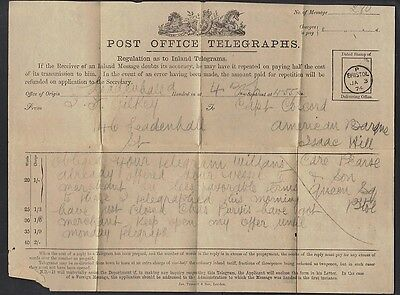 Uk Gb 1874 Po Telegraph Bristol Ja.3.74 Dated Stamp Of Delivering Office From