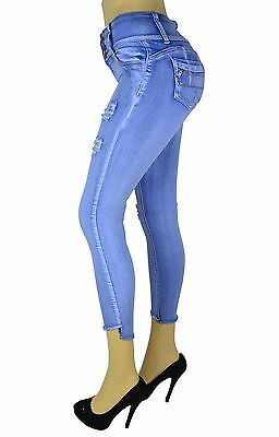 High waist  Stretch Push-Up Colombian Style Ankel Skinny Jeans Lt. BLUE AT-292