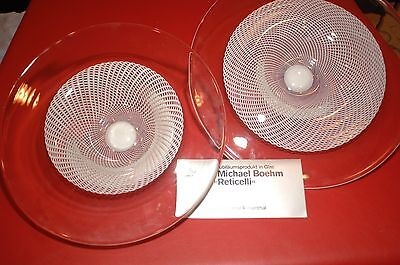 Rosenthal Reticelli pair of Michael Boehm art glass bowls