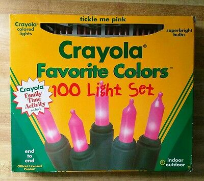 New! Crayola TickleMePink Favorite Colors Christmas 100Light Set-NICE FOR EASTER