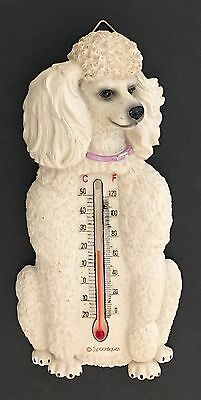 Vintage Spoontiques White Poodle Dog Thermometer Wall Figurine Decoration
