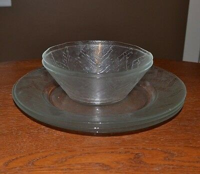Set of 2 Clear Glass Coca Cola Bowls and 3 Plates with Embossed Coke Bottles