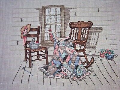 Completed Needlepoint Cabin Scene No Frame Handmade Rocking Chairs