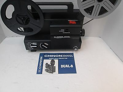 Chinon 2000 GL Dual 8mm (Super 8/Reg 8mm) Projector - Variable Speed - New Belt!