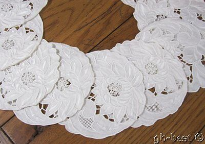 12 Beautiful Embroidered Needle Lace Linen COASTERS Vintage Wedding White UNUSED