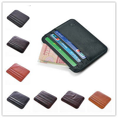 Practical Men's Genuine Leather Ultra Thin Wallet ID Money Credit Card Purse New