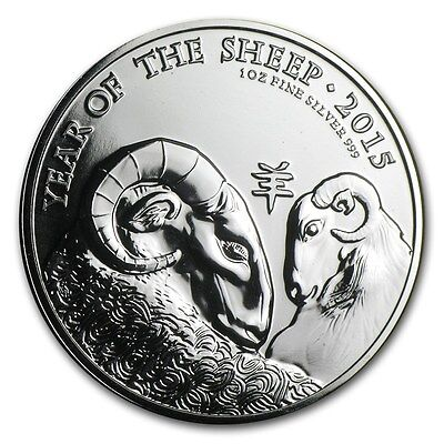 British Royal Mint Great Britain UK Lunar Sheep Goat 2015 1 oz .999 Silver Coin
