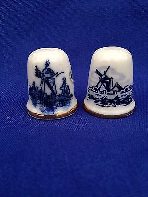 Lot Of 2 Delft Blue Thimbles Windmill Hand Painted