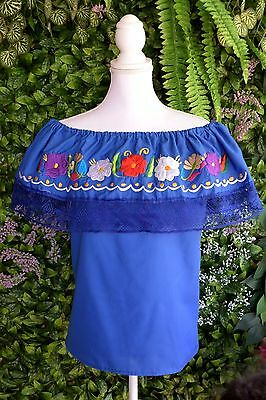 Blue Campesina/peasant Mexican Blouse Size Small/medium/off Shoulder/flowers