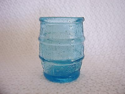 Vintage Glass Turquoise Blue Barrel Toothpick Holder - Perfect!