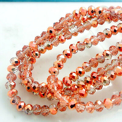 Wholesale new Colors Rondelle Faceted Crystal Glass Loose Spacer Beads 3/4/6/8mm