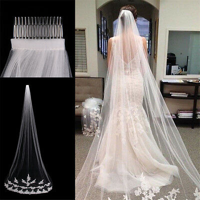 White Ivory 1T Cathedral Applique Edge Lace Bridal Wedding Veil With Comb 3M ON
