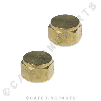 "PACK OF 2 x 1/4"" BSP BRASS BLANKING CAP BLANK OFF PIPES TUBING GAS WATER TAPS"