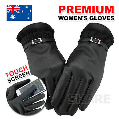 Women's Winter Warm PU Leather Click Touch Screen Magic Gloves For Mobile Phone
