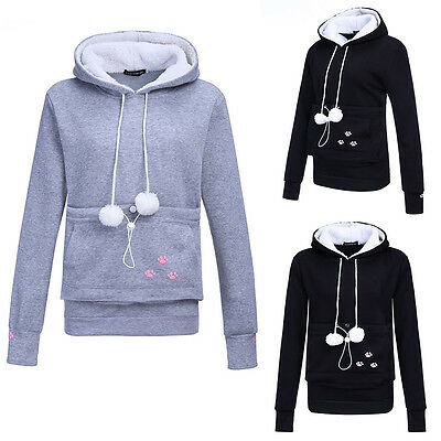 Unisex Cute Hoodies Pouch Pet Dog Cat Hooded Pullover With Ears Sweatshirt