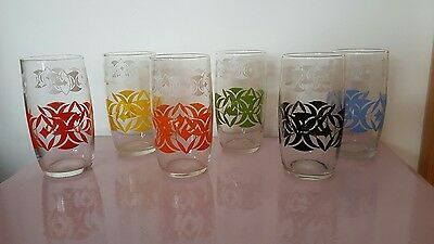 Set of 6 Mid Century Vintage Patterned 50s Drinking Glasses