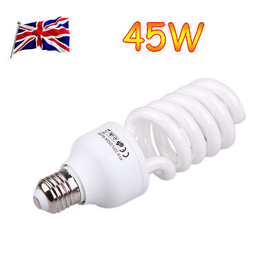UK E27 45W 220V Photo Studio Bulb Video Photography Daylight Light Lamp 5500K