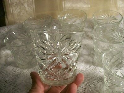 Set 10 Anchor Hocking Clear Star of David EAPC 3 In. Water Juice Glasses Tumbler