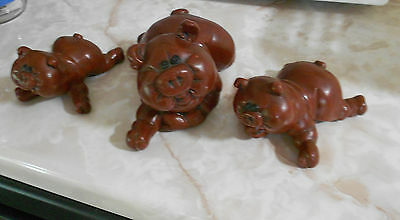 (3) Brown Hippo Mold Figurines-All Different-Vg+  Condition