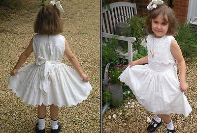 Vintage girls party dress 1950's full skirt cream flower girl first communion 5