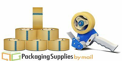 """24 Rolls Clear Packing Self Adhesive Tape 3"""" x 110 Yds 1.7 Mil + 3"""" Dispenser"""
