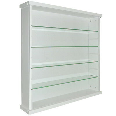 EXHIBIT - Solid Wood 4 Shelf Glass Wall Display Cabinet - White 3313OC