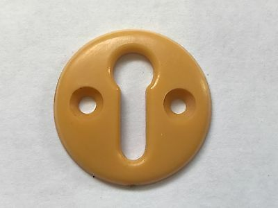 Vintage Retro Peach Orange Bakelite Door Lock Escutcheon Plate Art Deco 3cm Dia