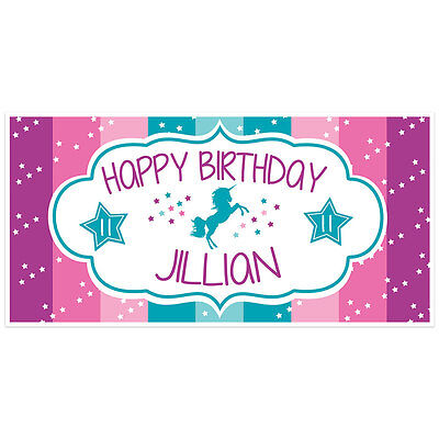 UNICORN RAINBOW PURPLE And Teal Birthday Banner Personalized Party