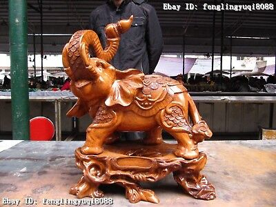 20 Chinese Folk Yellow Wood handwork Carved safety peace Lucky Elephant Statue