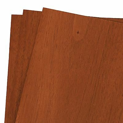 "Mahogany Wood Veneer Raw/Unbacked 12"" x 12"" (1' x 1') Pack of 3 Sheets"
