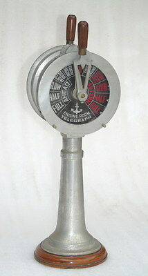 Large 21 Inch Aluminum Ships Engine Room Telegraph With Sounding Bell - Repro.