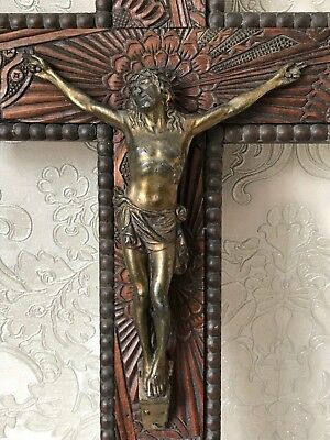 Antique Victorian Carved Wood & Brass Crucifix Jesus Christ Lord Wall Hanging